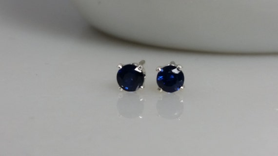 Tiny Sterling Silver AA Sapphire Gemstone Stud Earrings - Sapphire Birthstone Earrings- 3mm Sapphire Studs