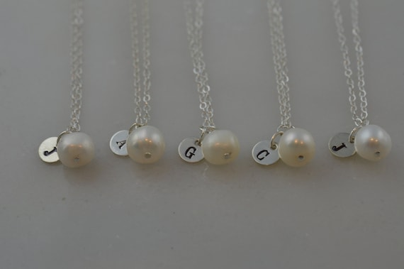 Custom Sterling Silver Pearl Initial Necklace - Freshwater Pearl Bridesmaid Necklace - Set of 3