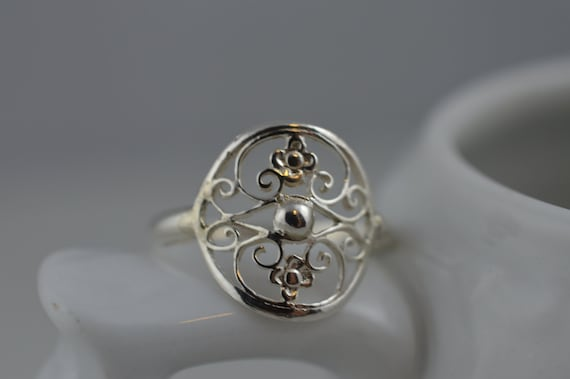 Sterling Silver Statement Ring / 925 Filigree / Flower / Floral