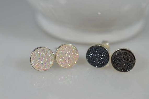 Sterling Silver Druzy Stud Earring Pair in Black or White - 8mm