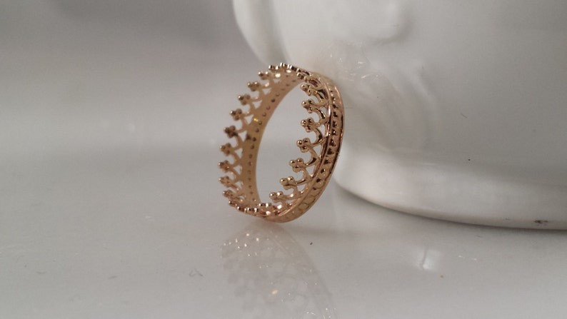 14k SOLID Gold Crown Ring  Filigree Stack Ring Style 1 image 0