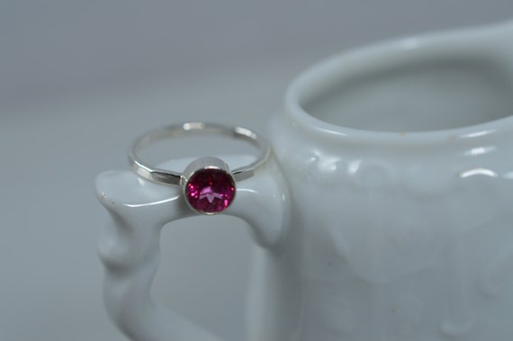 Sterling Silver Gemstone Ring - 6mm Hot Pink Blush Topaz Ring - Stacking Birthstone Ring
