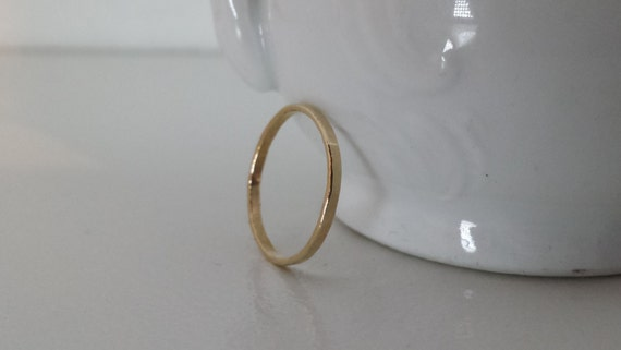 14k Gold Hammered Ring SOLID GOLD - one ring