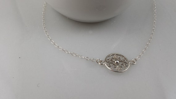 Sterling Silver Floral Filigree Necklace