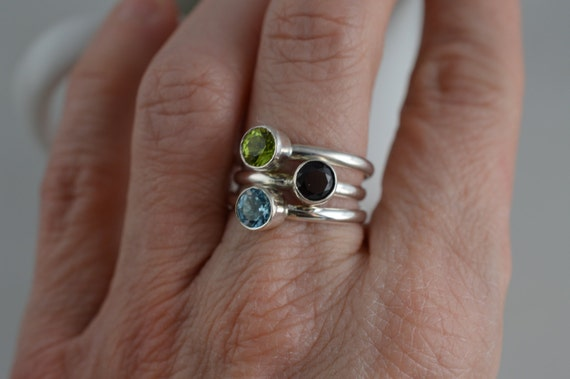 Sterling Silver Gemstone Ring - 5mm Silver Peridot Ring - August Birthstone Ring