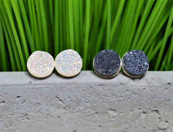 Gold Druzy Stud Earring Pair in Black or White, Gold Fill Druzy Studs
