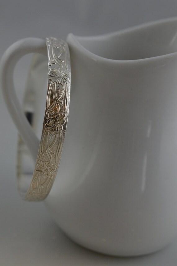 Sterling Silver Wide Floral Vine Bangle Bracelet