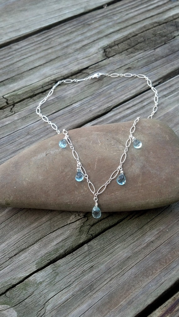Sterling Silver and Blue Topaz Necklace