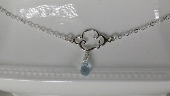 Sterling Silver and Blue Topaz Rain Cloud Necklace