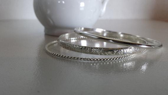 Sterling Silver Bangle Bracelets - Pattern, Set of three
