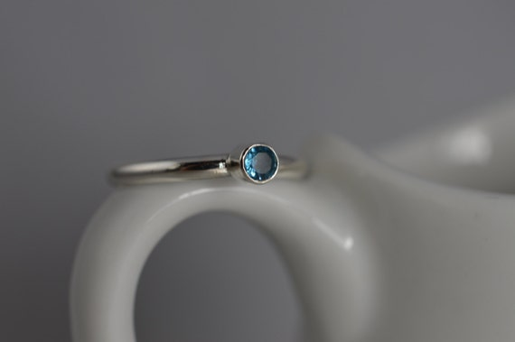 Sterling Silver Gemstone Ring - 3mm London Blue Topaz Ring - Stacking Gemstone Ring