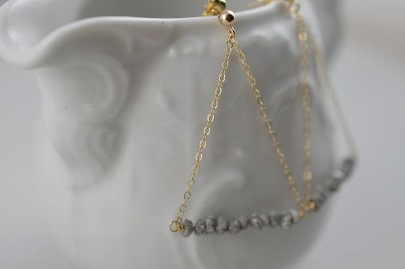 14k Gold Diamond Earrings - Raw/Rough/Uncut Diamond Earrings