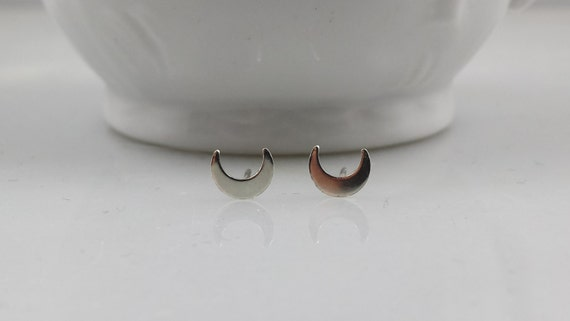 Sterling Silver Crescent Moon Earrings - Tiny Silver Moon Earring Pair
