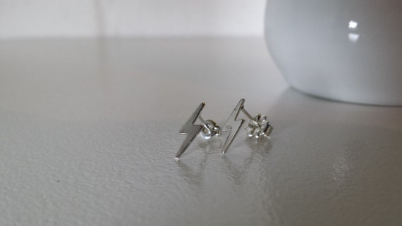 Tiny Sterling Silver Lightning Bolt Post Earrings