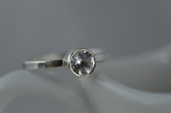Sterling Silver Gemstone Ring - 5mm Silver White Topaz Ring - Stacking Gemstone Ring