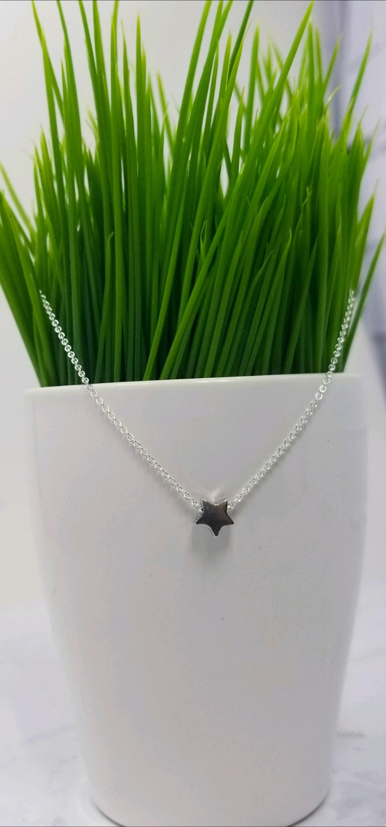 Tiny Sterling Silver Star Necklace Silver Star Jewelry Star image 0