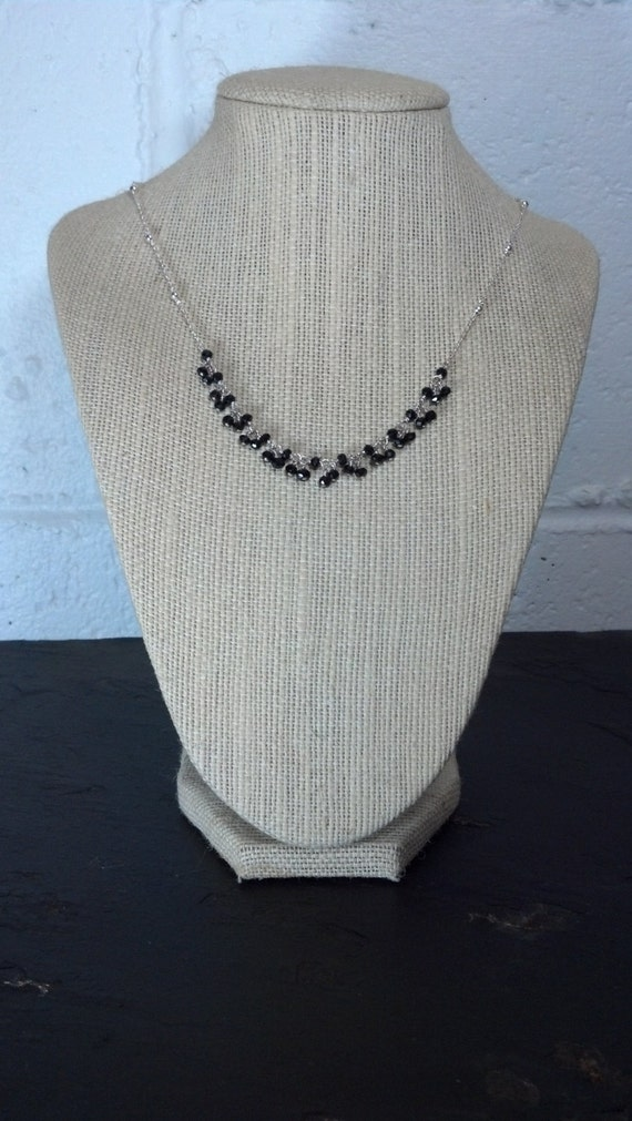 Sterling Silver Necklace with Onyx Drops