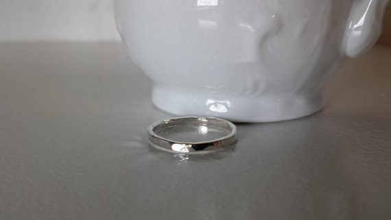 Sterling Silver  Hammered Stack Ring - ONE ring