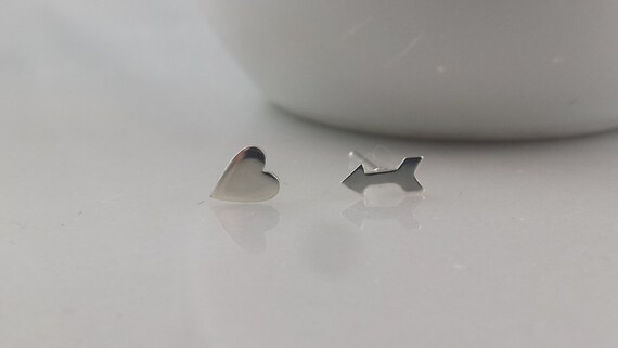 Tiny Sterling Silver Heart and Arrow Earrings