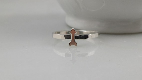 Sterling Silver Arrow Ring - Tiny Silver Arrow Stackcing Ring