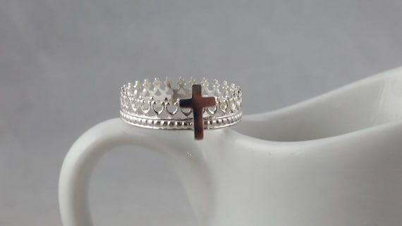 Sterling Silver Cross and Crown Ring