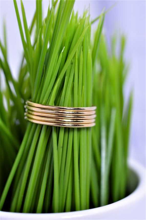 Gold Fill Ultra Thin Stacking Ring - Yellow Gold Smooth Skinny Stack Band