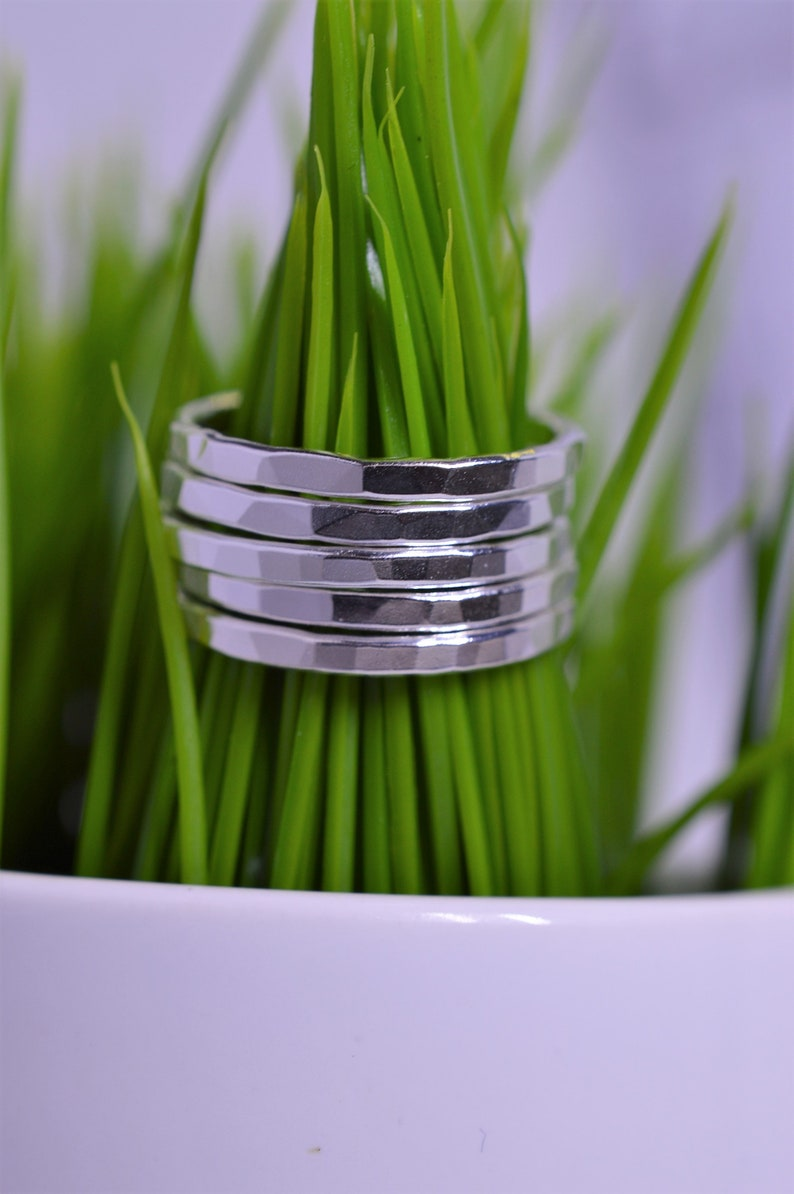 Sterling Silver  Stack Rings  Hammered  Set of 3 5 or 7 image 0