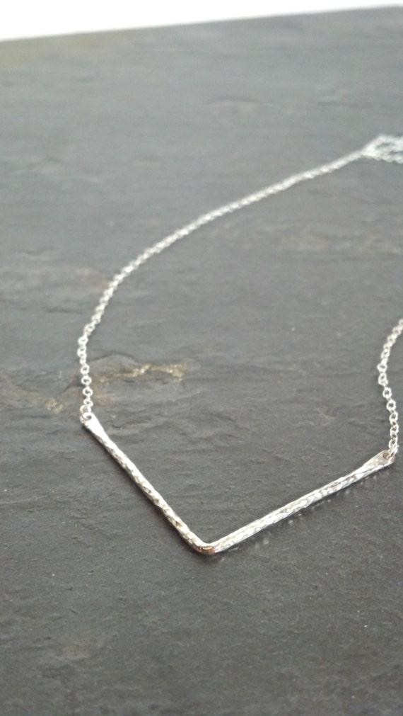 Sterling Silver Hammered Chevron Necklace