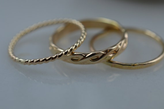 14k Gold Stacking Ring Set - 3 Rings / Stack Pattern Rings / Twist / Hammered / Modern / Simple