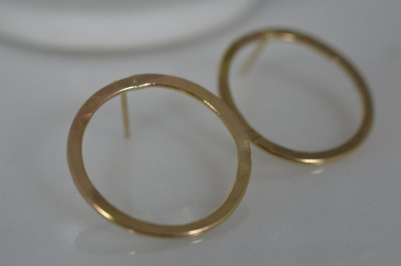 14k Solid Gold Hammered Circle Earrings - Gold Hoop Earrings