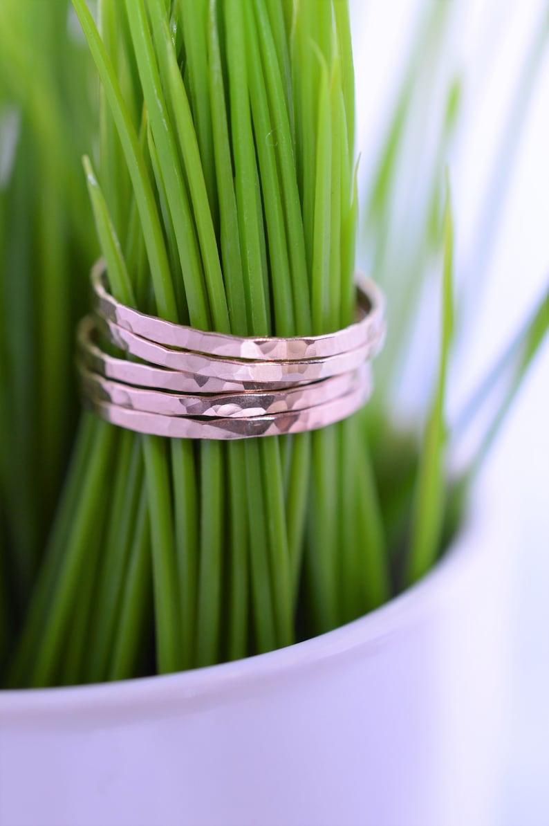 Rose Gold Ultra Thin Hammered Stacking Ring Set Rose Gold image 0