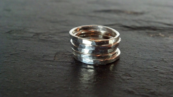 Sterling Silver  Stack Rings - Hammered - Set of 3, 5 or 7