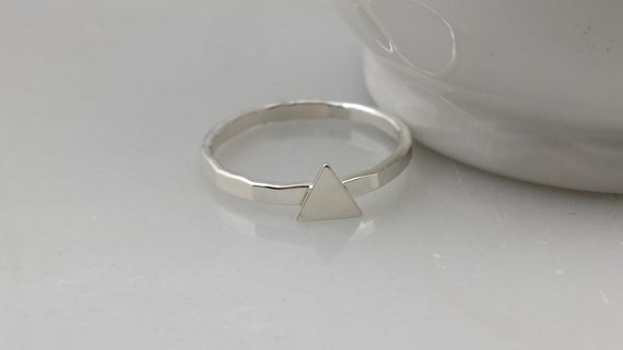 Sterling Silver Triangle Ring - Geometric Tiny Silver Triangle Stacking Ring