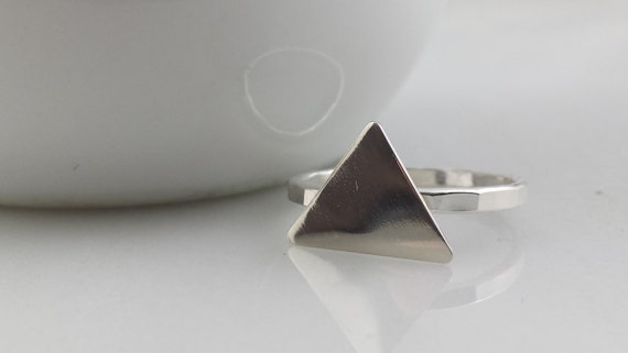 Sterling Silver Triangle Ring - Geometric Silver Triangle Stacking Ring
