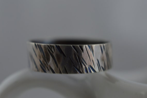 Sterling Silver Oxidized Wide Textured Ring - Tree Bark Ring