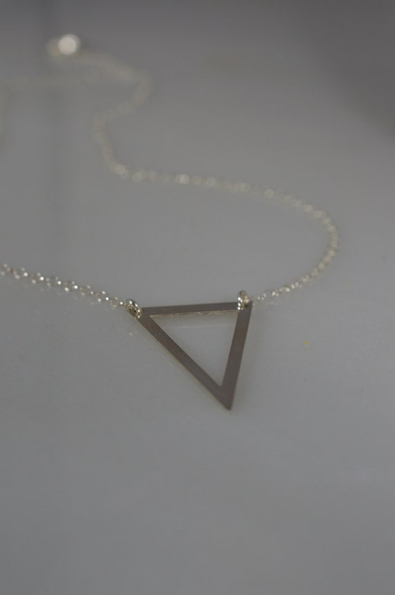 Sterling Silver Triangle Necklace - Open Triangle Geometric Necklace