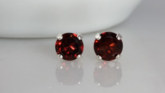 Sterling Silver Garnet Gemstone Stud Earrings - January Birthstone Earrings- 5mm Garnet Studs