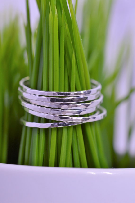 Super Skinny Sterling Silver Stack Rings, Hammered Stacking Rings Ultra Thin- Set of 3, 5 or 7