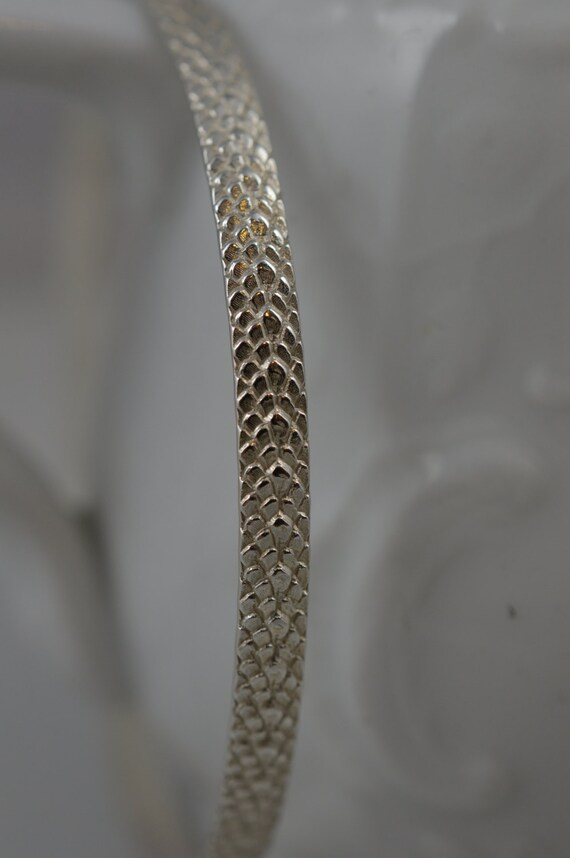 Sterling Silver Pattern Bangle - Snake Skin Pattern Bracelet