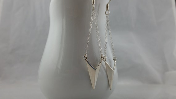 Sterling Silver Chevron Spike Earrings