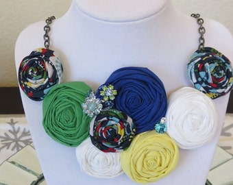 Rosette Bib Necklace with Vintage Rhinestone and Swarovski Accents