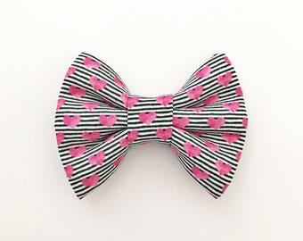 The Stripes and Hearts Handmade Bow (Handmade Bow / Bow Tie / or Headband)