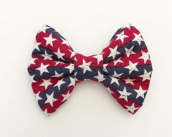 The White Stars on Stripes Handmade Bow (Handmade Bow / Bow Tie / or Headband)