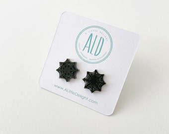 Small Black Spiderweb earrings on Stainless Steel Posts
