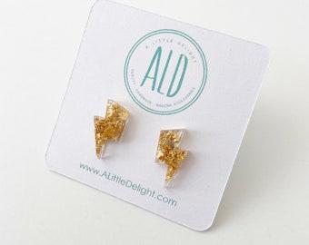Small Gold Flake Lightning Bolt earrings on Stainless Steel Posts