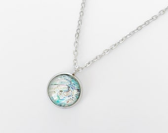"""Printed Stone Crystal resin pendant on 18"""" stainless steel chain"""