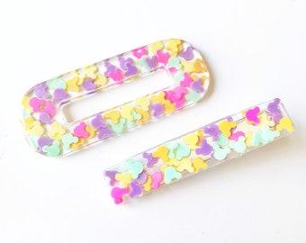 Handmade Rainbow Mouse Ear Sprinkles Resin Hair Clip (choose shape option)