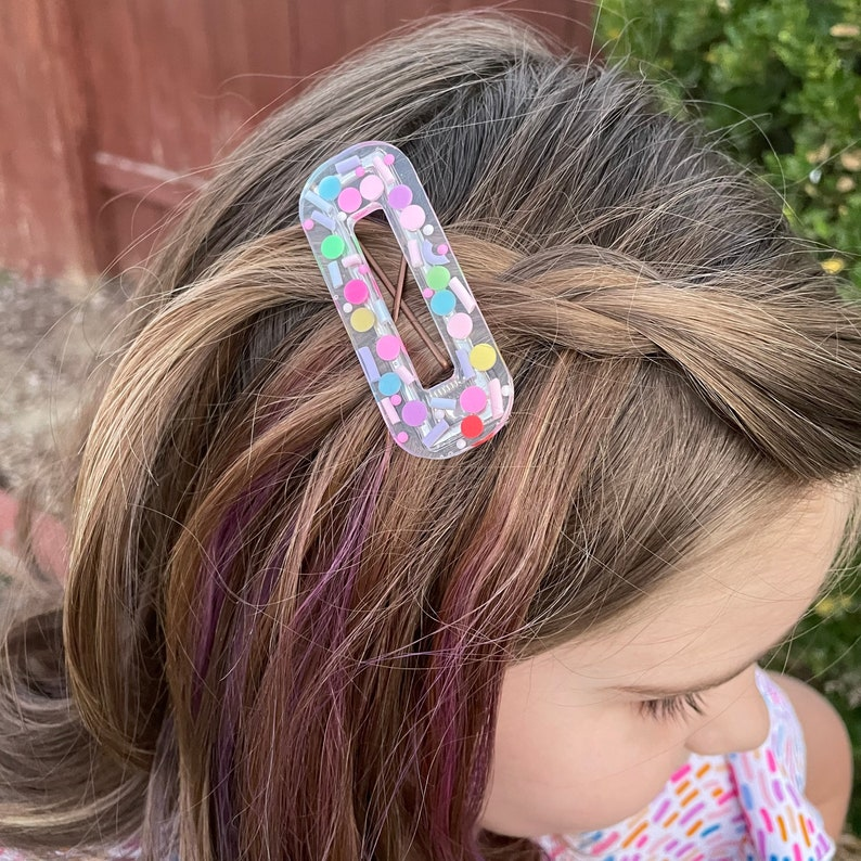 Handmade Birthday Sprinkles Resin Hair Clip choose shape option