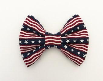 The Flag Banner Handmade Bow (Handmade Bow / Bow Tie / or Headband)