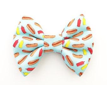 The Hot Dog Handmade Bow (Handmade Bow / Bow Tie / or Headband)